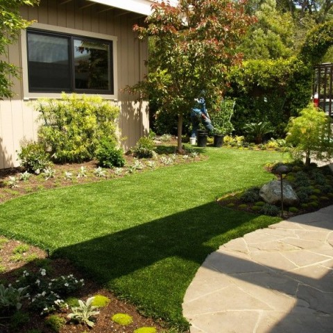 Artificial turf & sod in a backyard of Bay Area, North California