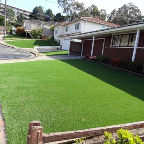 Artificial grass installation in 3 front yards in Belmont, CA
