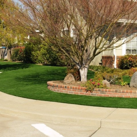 Installation of artificial synthetic grass at a corner house in Livermore, California