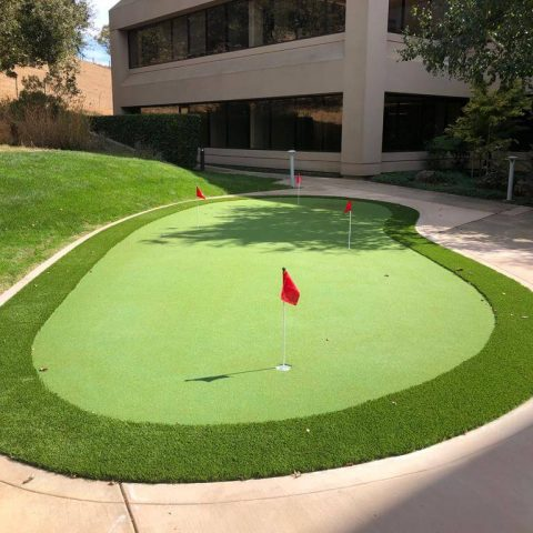 Artificial putting green installation in San Anselmo California
