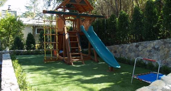 Artificial grass for a playground area