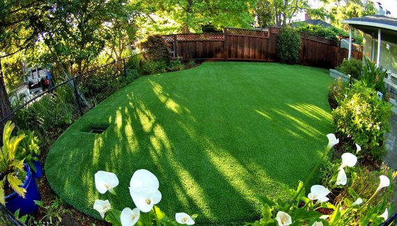 Artificial lawn with drainage system surrounded by landscape