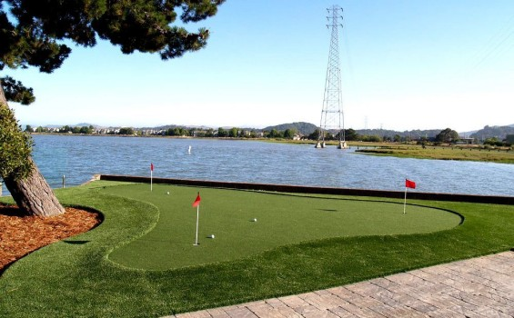 Putting green field with three holes installed in San Rafael, California