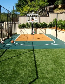 Artificial grass for an activity area with a sport court.
