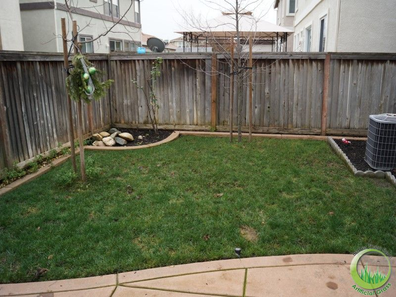 Backyard with a concrete patio in Fairfield, California ... on Backyard Ideas Concrete And Grass id=99184