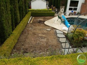 Synthetic grass around a swimming pool (before)