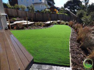Odd shape lawn in the backyard (after)