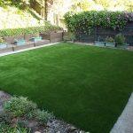 Synthetic turf & sod in a backyard of San Rafael, California
