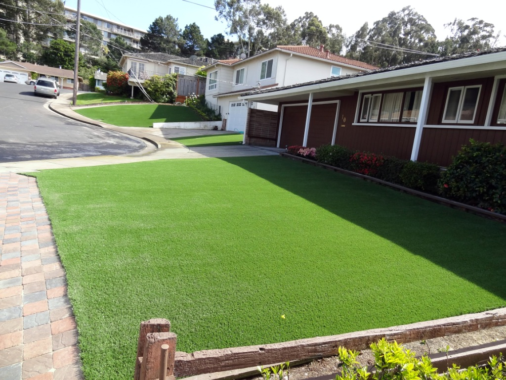 Artificial Grass Installation In 3 Front Yards In Belmont Ca