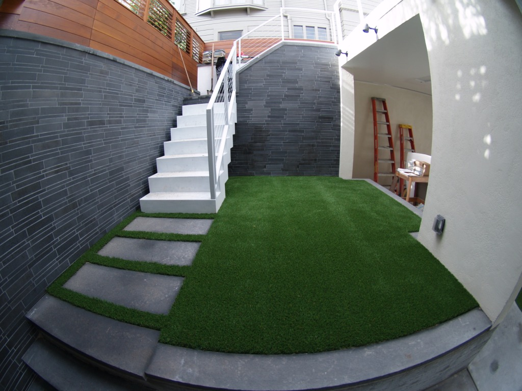 Artificial synthetic turf installed in three areas in a residence in San Francisco, California.