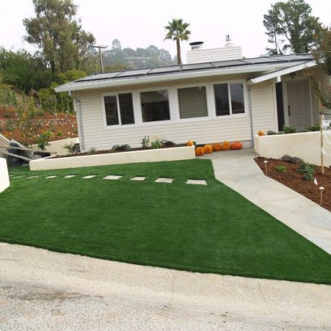 Marin County Artificial Grass with stepping stones