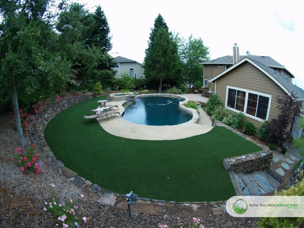 artificial grass around swimming pools projects in california