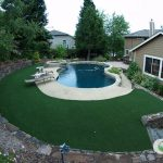 Installation of synthetic grass around swimming pools in Silicon Valley, CA