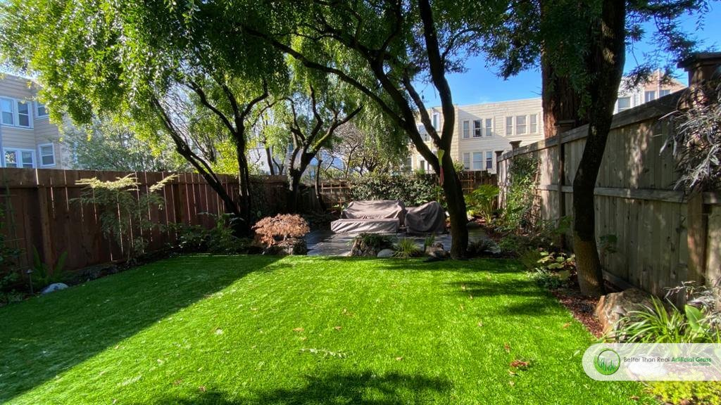 Artificial grass installation for backyard in Tiburon, San Francisco CA