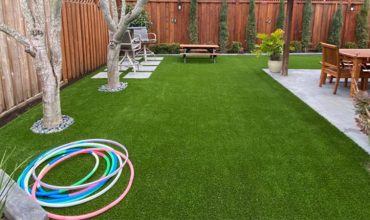 Installation of artificial grass made in San Anselmo, Marín County, California