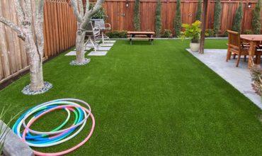Installation of artificial grass made in San Anselmo, Marín County, California
