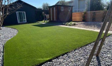 Fake grass project for a backyard in Novato, Marin County, California