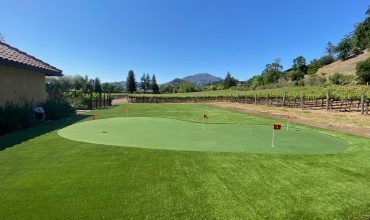 The project installed in Calistoga, CA: artificial grass around a vineyard