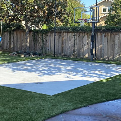 Synthetic turf basketball and playground