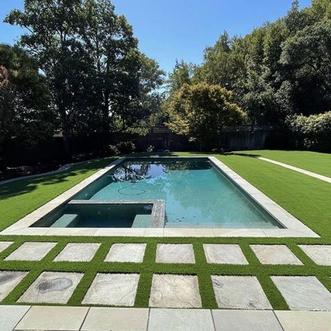 Artificial Grass Around The Pool