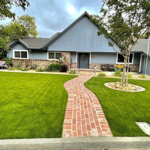 Installation of artificial grass in California garden
